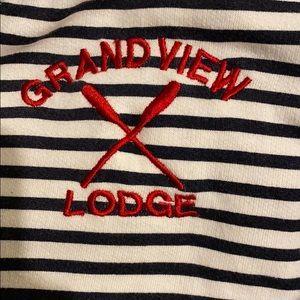 Tops - Grand View Lodge striped zipper sailor hoodie